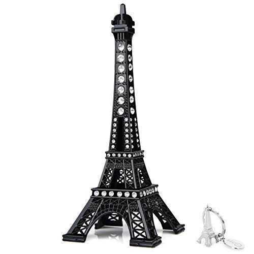 Paris Eiffel Tower - SiCoHome Paris Cake Topper,7.0inch Black with Blings