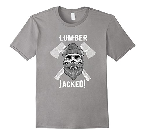 [Men's Lumber Jacked T-Shirt Lumberjack Skull Halloween Costume Large Slate] (Mens Lumberjack Costumes)