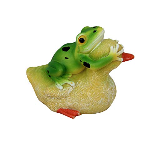 TABOR TOOLS Frog and Duck Playing Ornament, Terrace Figurine, Miniature Statue, Cute Patio Figure, Outdoor Decor, Sculpture for Your Garden, Home or Office. DM420A. (Duck and Frog)