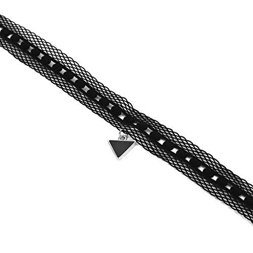 KnSam Ras du Cou Choker Collier Acier Inoxydable Velours Dentelle Triangle Argent Noir [Fille Gothique]