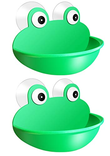 Jfbrix Soap Dish Cute Frog Design with Dual Vamcuum Suction Cups