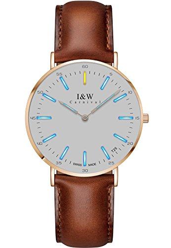 men's Quartz Wrist Watch Tritium Luminous Ultra-Thin Unisex (Blue Light White Face and Brown Band) ()