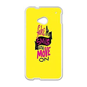 HTC One M7 Cell Phone Case White Fake A Smile B8Y3UD