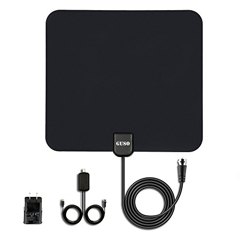 GUSO TV Antenna indoor HDTV digital antenna 50 Miles Long Range with Built-in Amplifier Signal Booster and 13 Feet Coax - Cable Signal Digital