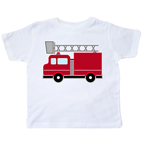 - inktastic Red Firefighter Fire Truck Toddler T-Shirt 2T White