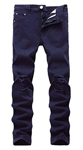 NITAGUT Men's Slim Fit Stretch Destroyed Ripped Skinny Denim Jeans Blue-US 40