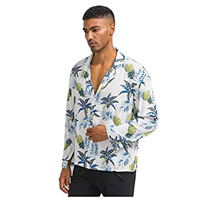 WINJUD Mens Shirt Hawaiian Pineapple Print Slim Fit Tops Long Sleeve Button Casual Top at  Men's Clothing store