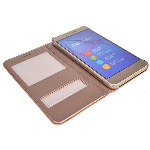 Huawei P8 Lite (2017) Funda,COOLKE Diseño de ventana Flip Funda Con Soporte Plegable Carcasa Funda Tapa Case Cover para Huawei P8 Lite (2017) /P9 Lite (2017), Honor 8 Lite, Nova Lite, GR3 (2017) - Ros Oro