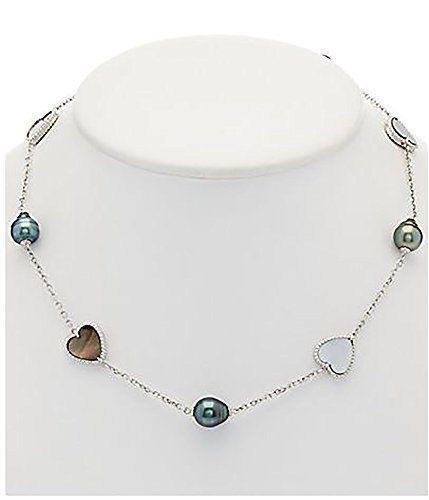 atural Color Tahitian Cultured Pearl and Mother of Pearl Heart Sterling Silver Necklace, 17-20