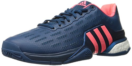 adidas Performance Men's Barricade 2016 Boost Tennis Shoe, Tech Steel/Tech Steel/Flash Red, 11 M US