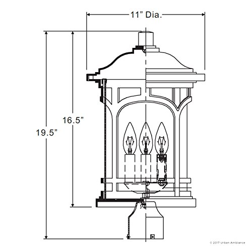 Luxury Rustic Outdoor Post Light, Medium Size: 19''H x 11''W, with Colonial Style Elements, Wrought Iron Design, High-End Black Silk Finish and Seeded Glass, UQL1106 by Urban Ambiance by Urban Ambiance (Image #6)