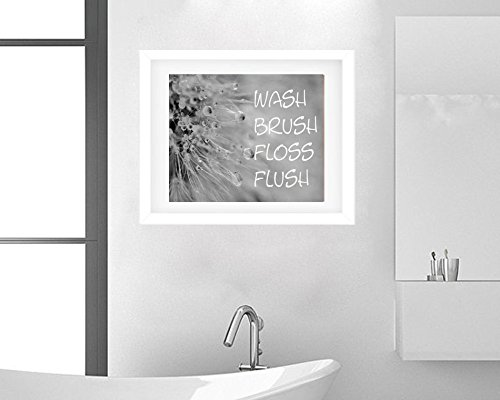 Black and White Photography, Dandelion Art Print, Wash Brush Floss Flush Wall Art, Children's Bathroom Wall Decor, Washroom Art Picture from 5x7 to 18x24