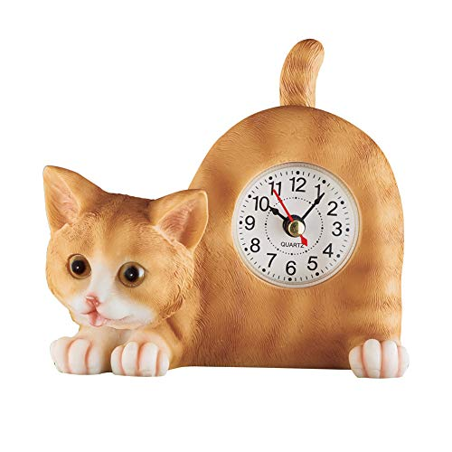 Collections Etc Wagging Tail Tabletop Tabby Cat Clock, Decor for Any Room - Gift for Cat Lovers