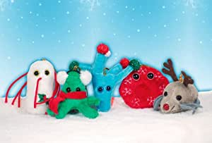 1 (One) GIANTmicrobes Merry Christmas Ornament Mini Microbe (Miniature in Size - 2-3 Inches) LIMITED EDITION: XMAS Dust Mite with reindeer nose and antlers