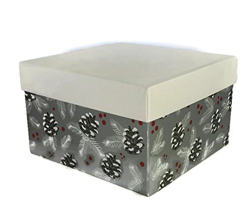 Christmas Gift Boxes with Lids, Set of 8, Silver Pinecone