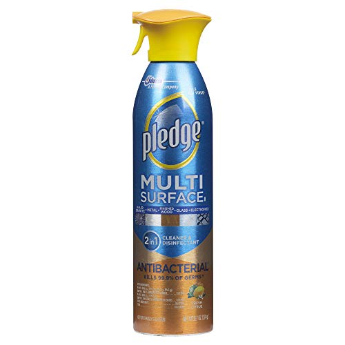 Pledge Multisurface Antibacterial Cleaner and Polish Spray, Works on Wood, Granite, Granite, Glass, Leather, and More, Fresh Citrus, 9.7 oz
