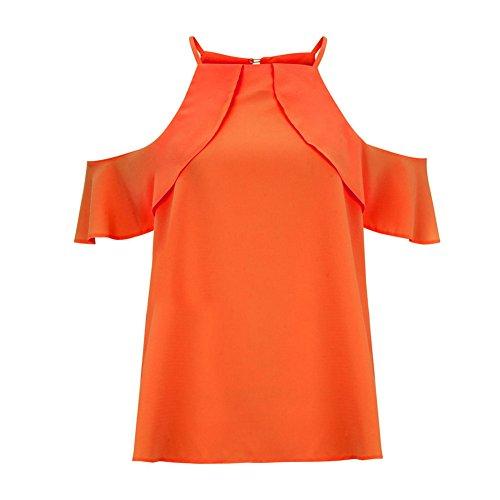 Blouse Femme Qitun Grande Hauts Gland Orange Shirt Mousseline Manches Chemisier Lache Taille sans Bretelles BqvwqZd