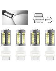 Sidaqi 4 stuks 3156 LED-lamp Wit Super Bright 6000K 5630 33 SMD Omkerende rempositie Staart Mistachterlicht Lamp 12-30V