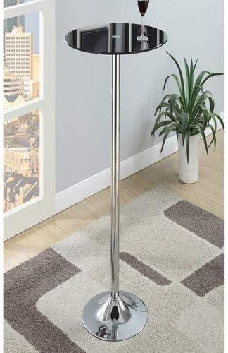 Noir Premier Housewares Table de bar avec plateau en verre tremp/é et pied chrom/é 107 x 60 x 60 cm