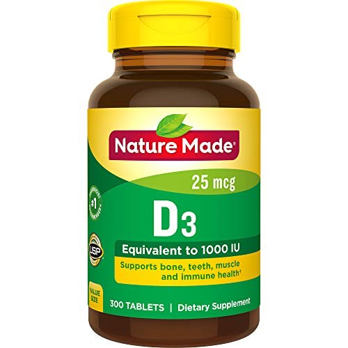 Nature Made Vitamin D3 1000 IU (25 mcg) Tablets, 300 Ct Value Size