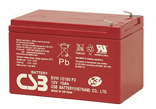 CSB EVH12150 F2 12Volt/15.0 Amp F2-Faston Tab 250 Terminal Sealed Lead Acid Battery