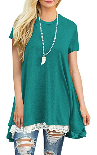 Angashion Women's-Tops-Casual Short Sleeve Lace Trim A Line Tunic T Shirt Blouse