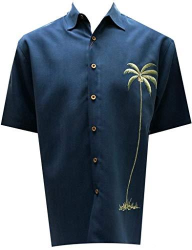 Bamboo Cay Mens Single Palm, Embroidered Short Sleeve Hawaiian Shirt (2XL, Navy)