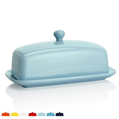 Sweese 3171 Porcelain Butter Dish with Lid, Perfect for East/West Butter, Turquoise