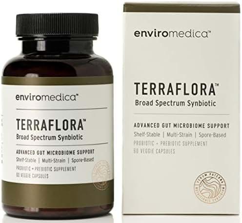 Enviromedica Terraflora SBO Probiotic + Prebiotic Supplement - a Soil Based Shelf Stable Bacillus Spore Form Synbiotic formulated to Assist Bowel and Gut Health (60ct)