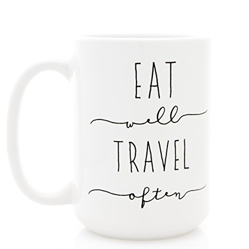 Eat Well Travel Often. Ceramic Coffee Mug with Inspirational Quote. Part of the Martha Stewart American Made Market.