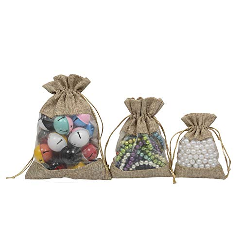 BZCTAH 10Pcs Open Window Burlap Bags with Drawstring Pouches Candy Jewelry Storage Package Sack for Wedding Bridal Shower Birthday Party Valentine's Day Favors DIY Craft, Natural, 3.9