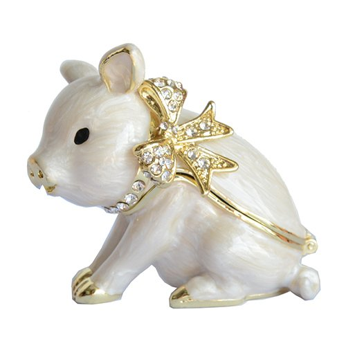 Pig Trinket Box (Trinket Box Enameled Animal Figurine Collectable Jewelry Ring Holder Organizer Pig)