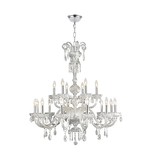 Worldwide Lighting Carnivale Collection 18 Light Chrome Finish and Clear Crystal Chandelier Two 2 Tier 36