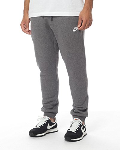 NIKE Men's Sportswear Jogger Pants, Charcoal Heather/White, Medium (Nike Fleece Embroidered Basketball)