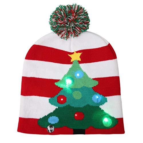 Oliote LED Light Up Hat Beanie 3 Flashing Modes Knit Cap Xmas Christmas Beanie Christmas