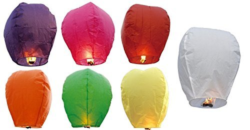 Sky Lanterns 60001ASST-20PK Chinese Sky Fly Fire Lanterns Wish Party Wedding Birthday, Multi Color by Sky Lanterns