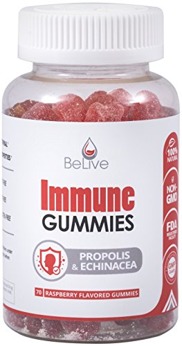 Elderberry Immune Support Gummies with Vitaminc C, Propolis, Echinacea. Herbal Supplement Immunity Booster. 100% Natural and Vegan Friendly | Raspberry Flavored. 70 Count