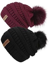 f9ce77502dc Women Knit Slouchy Beanie Chunky Baggy Hat with Faux Fur Pompom Winter Soft  Warm Ski Cap