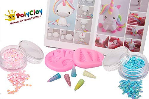 Polyclay Modeling Clay Crafting Unicorn Accessories Kit 10 PCS DIY Themed Crafting Projects Simple Step-By-Step Create Arts Figures by PolyClay