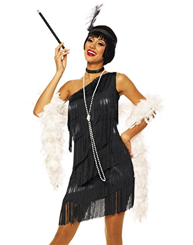 Costume Culture by Franco LLC Sexy 20s Flapper Black Fringe Dress Halloween Costume Medium