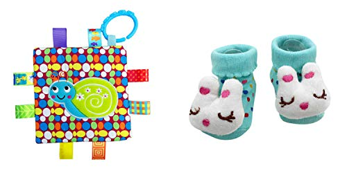 New Cute Baby Cat Bunny Socks & Little Taggie Snail Blanket Theme 2-Pack 3-12 Months w/Gift -