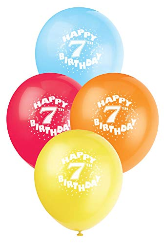 12 Latex Happy 7th Birthday Balloons, 6ct