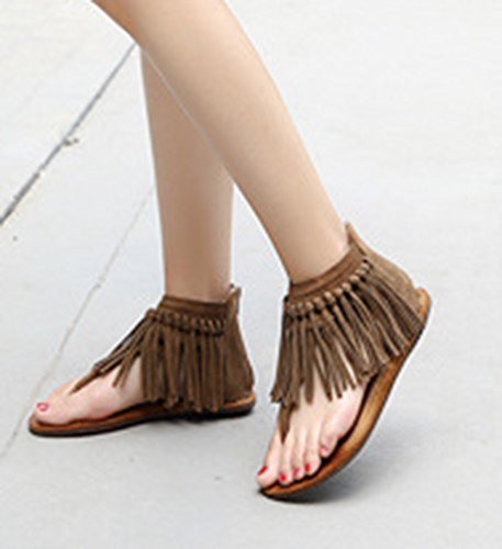NiSeng Mujer Retro Flecos Sandalias T-Strap Clip Toe Peep Toe Sandalias Peep Toe Piso Sandalias Caqui