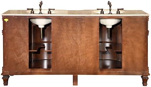 tools, home improvement, kitchen, bath fixtures, bathroom fixtures, bathroom sink vanities, accessories,  bathroom vanities 1 image Silkroad Exclusive Travertine Stone Top Double Sink Bathroom in USA