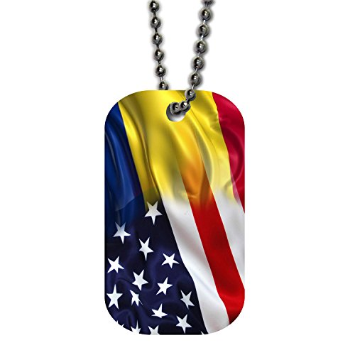Castle Design Keychain - BleuReign(TM) Mixed USA and Romania Flag Single Sided Metal Military ID Dog Tag with Beaded Chain