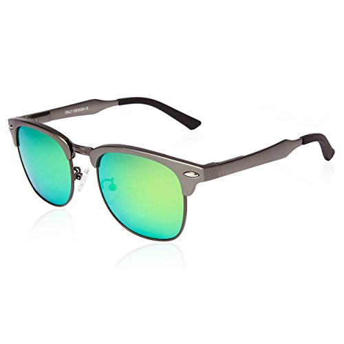 SUNGAIT Classic Half Frame Clubmaster Sunglasses with Polarized Lens (Gunmetal Frame Green (Metal Rimless Sunglasses)