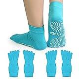 Baiyu Women Yoga Socks Pilates Sports Dance Ballet Fitness Exercises Non-slip Skid Cotton Silicone Dot 5 Full Toes Crew Toe Barefoot Feel Socks with Strong Grips 2 Pairs--Blue