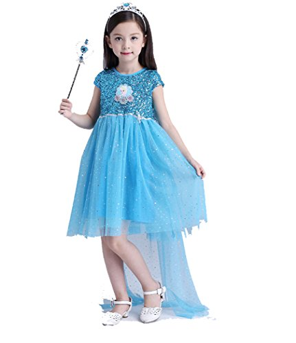 Price comparison product image JSL Disney Princess Of Frozen Girls' Dresses Blue Angel WIth Magic wand 59 inches