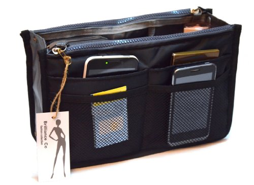 Brilliance Co Organizer für Handtasche - Handtaschenordner - Taschenorganizer Bag in Bag Schwarz