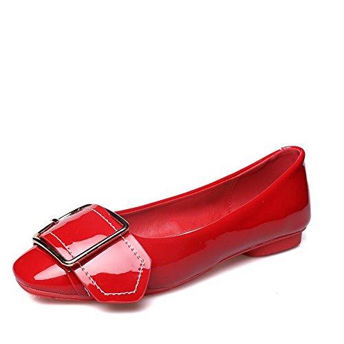 AalarDom Mujer Sin cordones Puntera Cuadrada Material Suave Sólido Plano Rojo-Hebilla